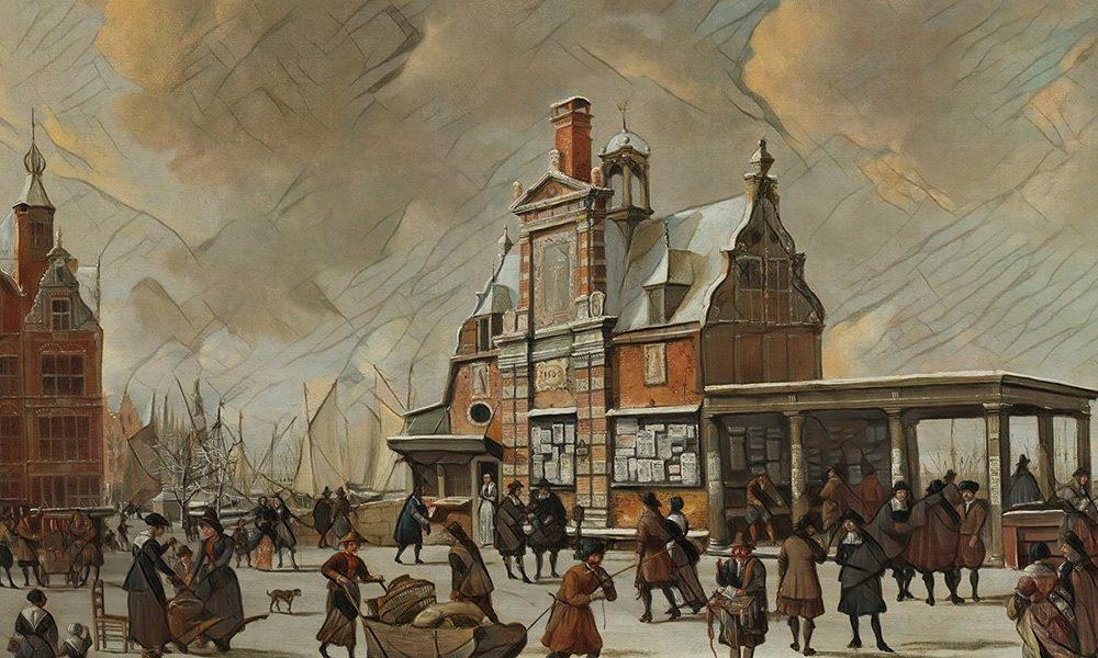 Edificio del correo (Paalhuis), ingreso al puerto de Ámsterdam, siglo XVII